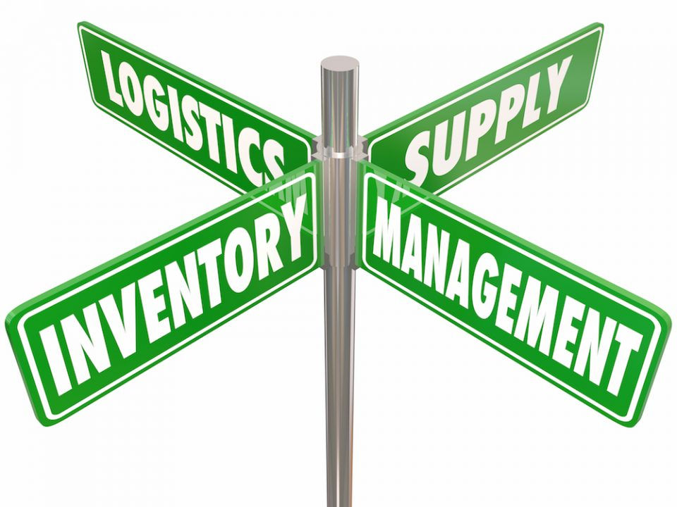 Inventory, Management, Logistics and Supply words on 4 green road or street signs pointing way to controlling chain of goods, merchandise or products at a company or business