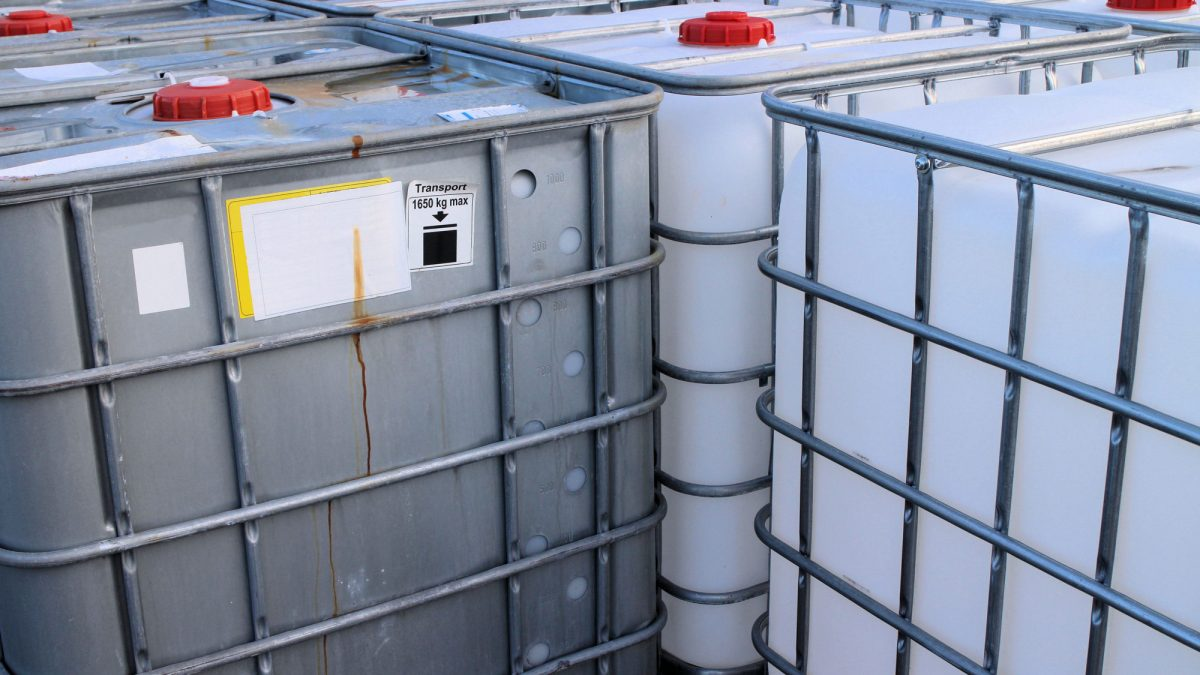IBC Container close-up view of chemical tanks