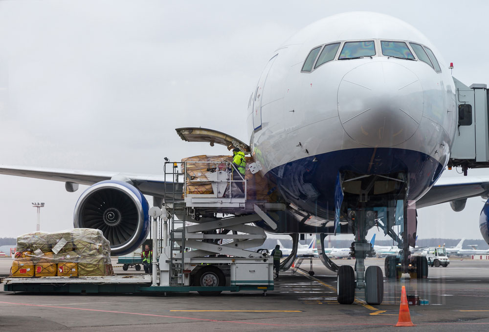 loading cargo into an airplane