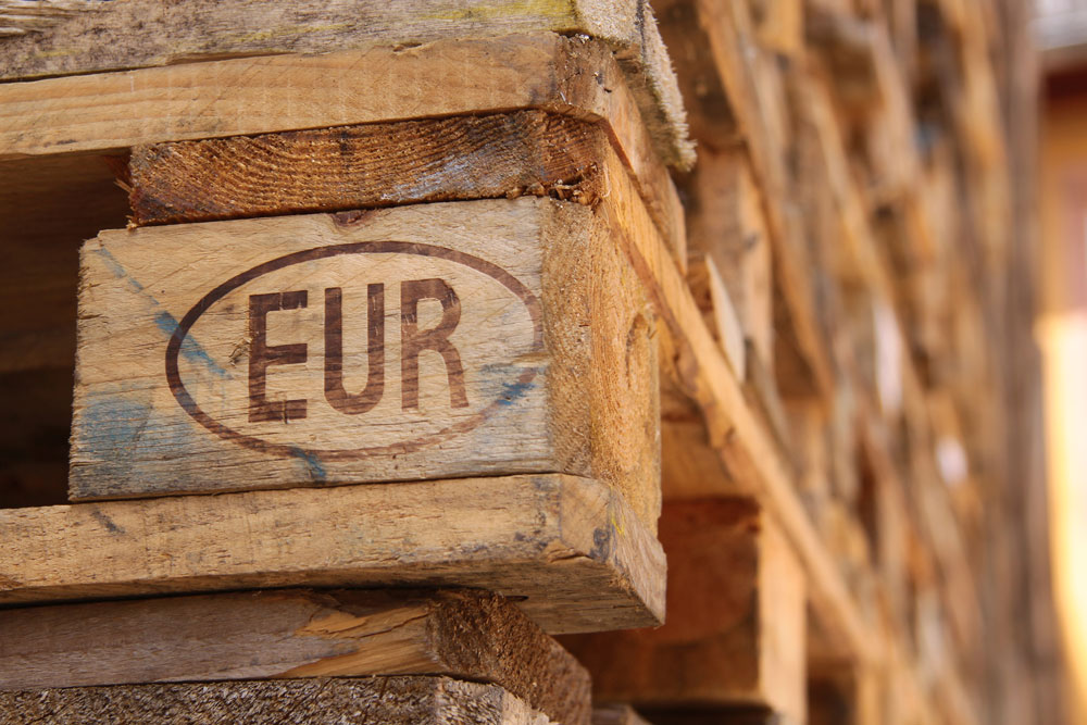 closeup of Euro pallets stacked